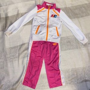 Girls 5 Pink and White Nike Track Suit Set